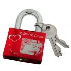Gravurbeispiel Liebesschloss rot aus Aluminium 50mm mit Ihrer individuellen Gravur