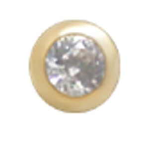 14 Karat Gold 4mm Kugel mit Kristall 1.6mm Gewinde