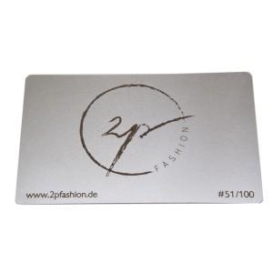 10 Visitenkarten aus Edelstahl 0.5mm Stärke mit Gravur  silber