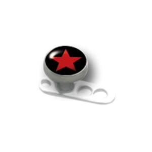 Titanaufsatz für Dermal Anchor mit einem roten Stein
