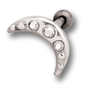 Helix Ohrpiercing 1.2x6mm mit Mond Design aus 925 Sterling Silber