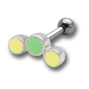 TIP Ohrpiercing mit 925 Silber UV-Design und 316L Barbell 12UV