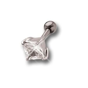 Helix Ohrpiercing 1.2x6mm mit 925 Sterling Silberdesign mit einem eckigem Kristall