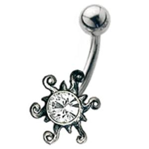 Bauchnabel Piercing mit Silber Design - die Sonne strahlt