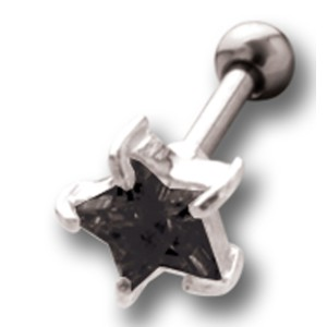 Helix Ohrpiercing 1.2x6mm mit Stern Design aus 925 Sterling Silber