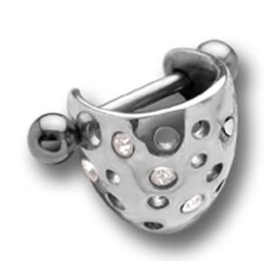 Helix Ohrpiercing  925 Sterling Silberdesign und Schild mit Kristallen 1.2x6mm