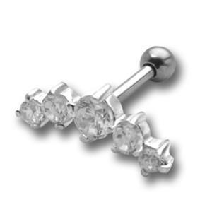Ohrpiercing mit mehreren Swarovski Kristallen