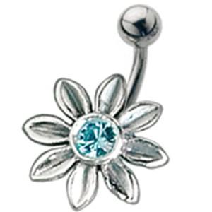 Bauchnabel Piercing mit großem Blüten Design