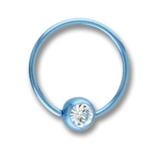 Titan BCR mit einer Klemmkugel mit Kristall 1,0mm