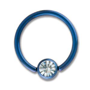 Titanium BCR mit einer Klemmkugel mit Kristall 1,6mm