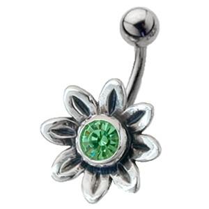 Bauchnabel Piercing mit Blüten Design, 8blättrig