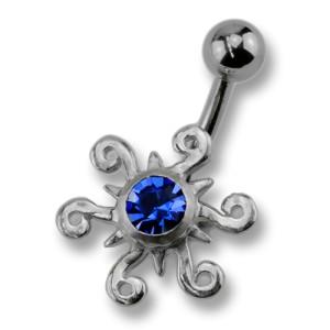 Stahl Bauchnabel Piercing Atztekensonne in Sterling Silber, mit Kristall