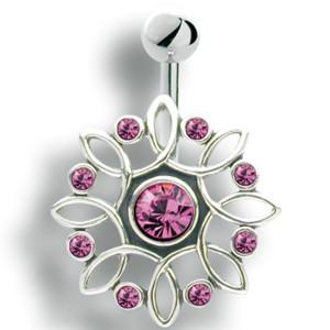 Bauchnabelpiercing mit filigranem Design aus 925 Silber und Kristallen