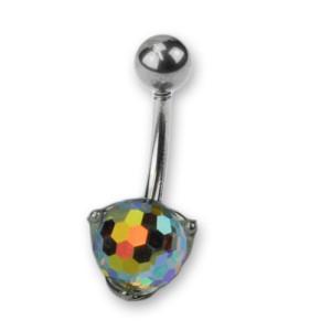 Bauchnabel Körperschmuck Piercing aus 925 Silber mit rundem Disco Stein