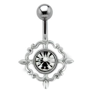 Bauchnabel Piercing mit Silber Design und Swarovski