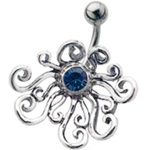 Stahl Bauchnabel Piercing mit Silber Design, crazy-Krake