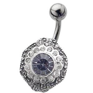 Bauchnabel Piercing mit Silber Design - Art Deko Style