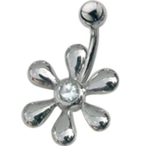 Stahl Bauchnabel Piercing mit Blütendesign und Swarowski