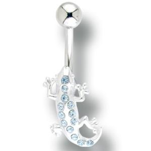 Bauchnabel Piercing mit Echsen Design und Swarovski