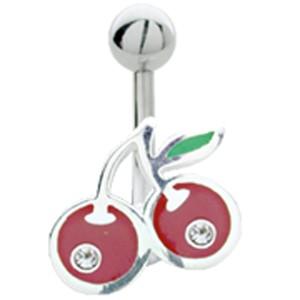 Bauchnabel Piercing mit 925 Silber Kirschen Motiv, 1.6x6mm / 1.6x8mm / 1.6x10mm / 1.6x12mm / 1.6x14mm