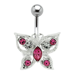 Bauchnabel Piercing mit Schmetterlings 925 Silber Motiv 603