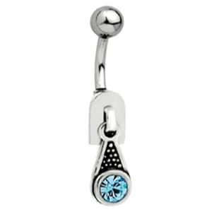 Bauchnabel Piercing mit 925 Silber Reißverschluß Motiv