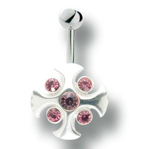 Bauchnabel Piercing mit 925 Silber Kreuz Motiv 70