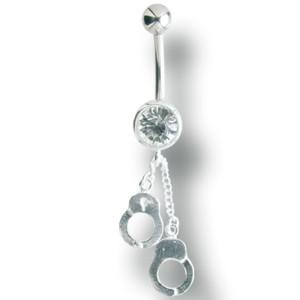 316L Chirurgenstahl Bauchnabel Piercing mit 925 Silber Handschellen,