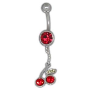 Bauchnabel Piercing mit 925 Silber Kirschen Design, 1.6x6mm / 1.6x8mm / 1.6x10mm / 1.6x12mm / 1.6x14mm