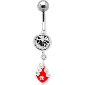 Bauchnabel Piercing mit 925 Silber Flammen Design