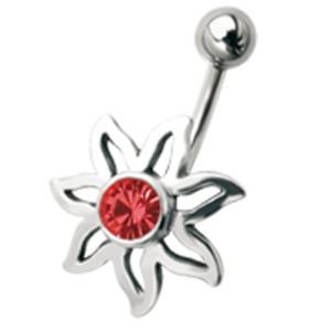 Bauchnabel Piercing mit Blütendesign, einem sonnigen kleinen Blümchen