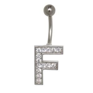 Bauchnabel Körperschmuck Piercing im ABC-Design mit Zirkonien - Buchstabe F