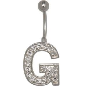 Buchstaben-Bauchnabelpiercing G mit Stahl oder Titanbanane,1.6x6mm / 1.6x8mm / 1.6x10mm / 1.6x12mm / 1.6x14mm