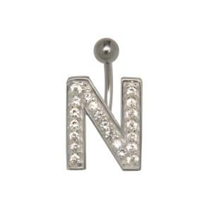 Bauchnabel Körperschmuck Piercing im ABC-Design mit Zirkonien - Buchstabe N,1.6x6mm / 1.6x8mm / 1.6x10mm / 1.6x12mm / 1.6x14mm