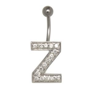 Bauchnabel Körperschmuck Piercing im ABC-Design mit Zirkonien - Buchstabe Z,1.6x6mm / 1.6x8mm / 1.6x10mm / 1.6x12mm / 1.6x14mm