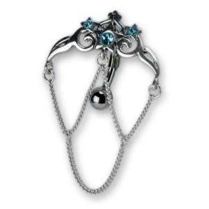 Bauchnabel Piercing, Sterne mit Silberketten und Kristallen