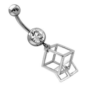 Piercing gebogen Bauchnabel, transparenter Kristall, anhängender Mini-Käfig