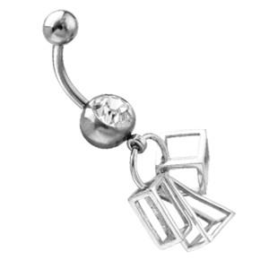 Piercing gebogen Bauchnabel mit Crystal Stein im Design und vielen Anhängern