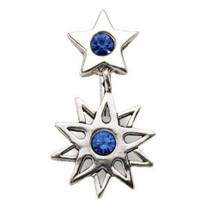 Bauchnabel Piercing mit Silber Sternen Motiv und Kristallen