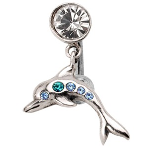 Bauchnabel Piercing mit springendem Silber-Delphin, Kristalle