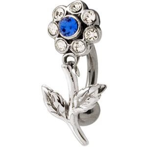 Bauchnabel Piercing mit 925 Sterling Silber Motiv, Blüte mit Kristallen Stengel beweglich,