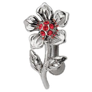 Bauchnabel Piercing mit 925 Sterling Silber Motiv Grusel-Blume mit Kristallen
