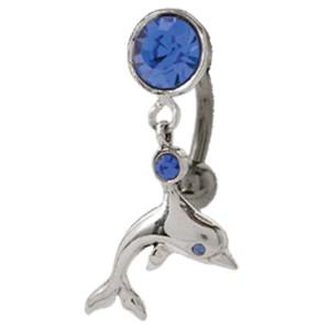 Bauchnabel Piercing mit 925 Sterling Silber Motiv beweglicher Delphin mit Kristallen