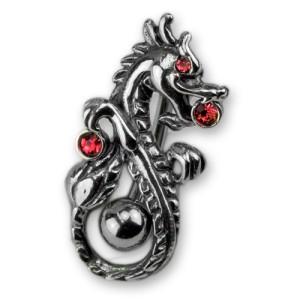 Bauchnabel Piercing mit chinesischem Drachen und 3 Kristallen