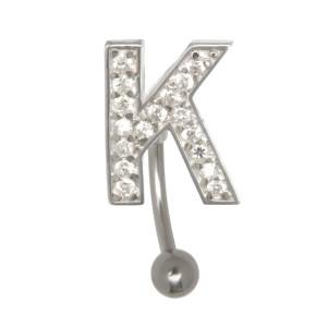 Buchstaben-Bauchnabelpiercing K mit Stahl oder Titanbanane