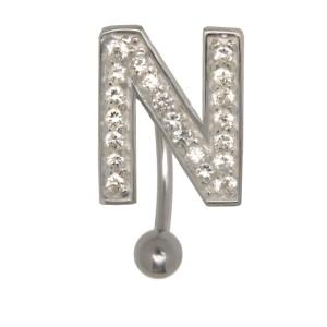 Bauchnabel Körperschmuck Piercing im ABC-Design mit Zirkonien - Buchstabe N, 1.6x6mm / 1.6x8mm / 1.6x10mm / 1.6x12mm / 1.6x14mm