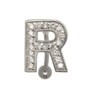Bauchnabel Körperschmuck Piercing im ABC-Design mit Zirkonien - Buchstabe R