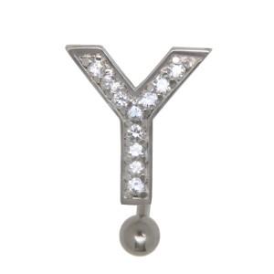 Bauchnabel Körperschmuck Piercing im ABC-Design mit Zirkonien - Buchstabe Y, 1.6x6mm / 1.6x8mm / 1.6x10mm / 1.6x12mm / 1.6x14mm