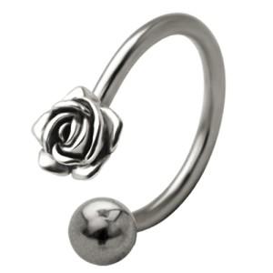 Front Circular Barbell mit Rosen Blüten Design in verschiedenen Größen