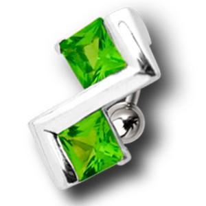 Bauchnabel Piercing mit Art-Deko-Design und 2 quadratischen Kristallen